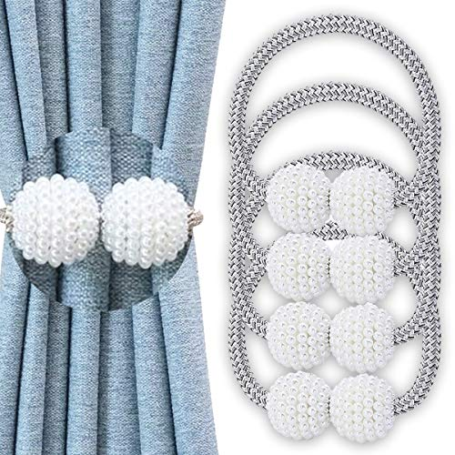 4 Pearl Magnetic Curtain Tiebacks Convenient Drape Tie Backs Weave Holder for Window Draperies Hold Curtains Drape Ties Backs 16 inch Holdback