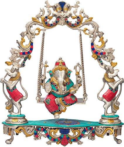 Ganesh Exotique Inde sur balançoire Finition Argent