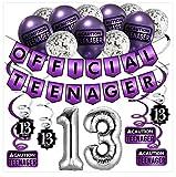 13. Geburtstag Dekorations Official Teenager (Englische Sprache) – Lila & Silber Deko-Set Geburtstag, Luftballons und Spiralgirlande – Party Zubehör