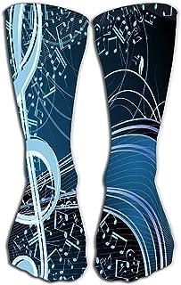 Calcetines de vestir para hombre Calcetines deportivos divertidos Calcetines de 19.7 '(50 cm) música azul fondo floral melodía notas clave swirly Encantador