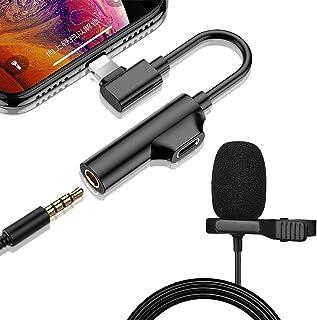 Micrófono de Solapa, 3 en 1 lavalier Micrófono de condensador con adapter Audio Cables de iPhone / Android / PC Grabación ...