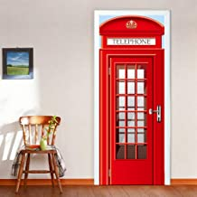 3D Door Decal Door Stickers Decor Red Telephone Booth Door Mural Removable Vinyl Door Wall Mural Door Wallpaper for Home Decor