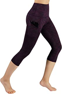 ODODOS Women's High Waist Yoga Capris with Pockets,Tummy Control,Workout Capris Running 4 Way Stretch Yoga Leggings with Pockets,SpaceDyeWine,Small