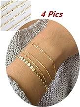 Sophie Land 4Pcs/2Pcs Layered Bracelet Set Stackable Wrap Bangle Adjustable Beads Bracelet for Women Girls