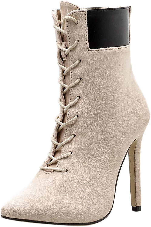 Stiefel Damen Schuhe Schuhe Schuhe Frauen Stiefeletten Spitzschuh mit Hohen Absätzen Damen Stiefel Herbst Winter Zipper Stiefel Ankle Stiefel Elegant Kurzschaft (Farbe   Khaki, Größe   40 EU)  a55ee9