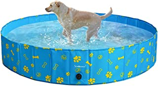 SCENEREAL Dog Swimming Pool - Large Foldable Pet Pool Bathing Tub with Paw Printing Outdoor Bathtub Collapsible for Small Medium Large Dogs Puppy X-Large and Large