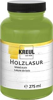 Kreul 78211 - Farbintensive Acryl Holzlasur, für unbehandeltes, natürliches Holz und saugende Naturpapiere, fließend - flüssige Farbe auf Wasserbasis, 275 ml Kunststoffglas, pistazie