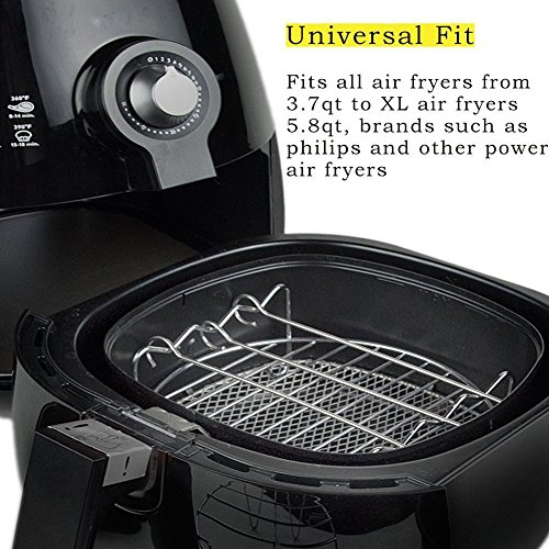 5 Piece Air Fryer Accessories for Gowise Phillips Cozyna Air Fryer, Including Cake Barrel, Pizza Pan, Metal Holder, Skewer Rack and Silicone Mat, Fit All 3.7QT 5.3QT 5.8QT with 7 Inch Diameter