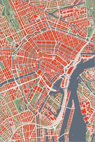 Posterlounge Cuadro de metacrilato 60 x 90 cm: Colourful City Map of Amsterdam de PlanosUrbanos
