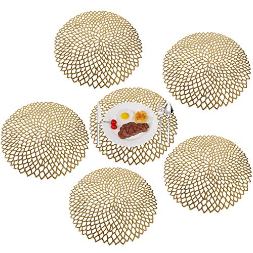 MaoXinTek PVC Placemat Set of 6 Washable Heat Resistant Table Mats Gold Round Non-Slip Coaster for Christmas Wedding Dinner Parties Home Restaurant 38cm