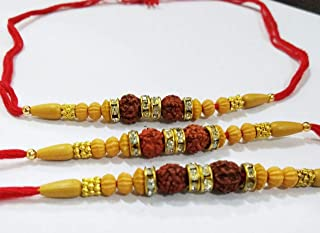 Set of Three Two Rudraksh Rakhi- Best Handmade RedThread Rakhi for Loving Brother/Sibling/Bhai - Happy Rakshabandhan Raksha Bandhan - Red Rakhi
