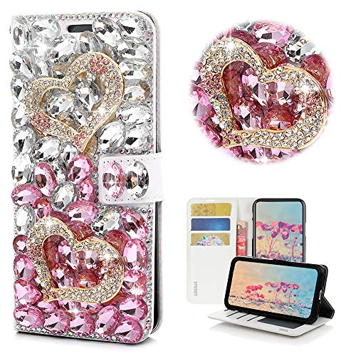 STENES Bling Wallet Handyhülle Kompatibel mit Samsung Galaxy S20 FE 5G Hülle - Stilvoll - 3D Handmade Crystal Heart Magnetic Wallet Stand Leder Cover Case - Pink