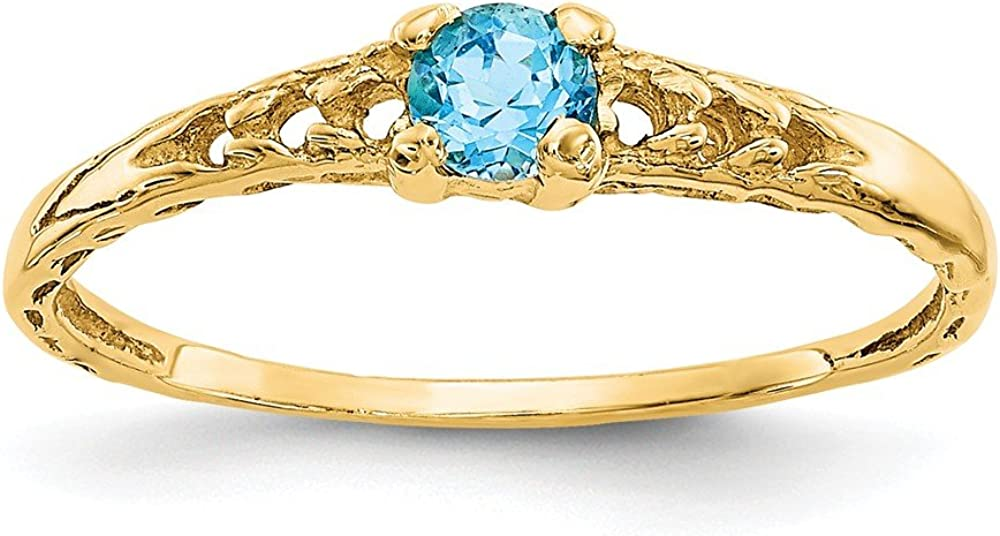 14k Yellow Gold 3mm Blue online shop Topaz Baby Birthstone Band Luxury goods Size 3. Ring