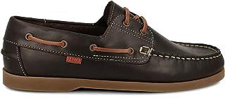 PAYMA - Chaussures Bateau Sport Homme en Cuir. Fermeture avec Deux œillets. Grandes Tailles. Semelle en Caoutchouc. Marro...