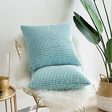 Miulee Pack of 2, Corduroy Soft Soild Decorative Square Throw Pillow Covers Set Cushion Case for Sofa Bedroom Car 18 x 18 Inch 45 x 45 Cm