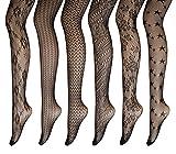 PreSox Fishnet Tights Seamless Nylon Mesh Stockings Toeless Pantyhose for Women 6 Pack, One Size, C
