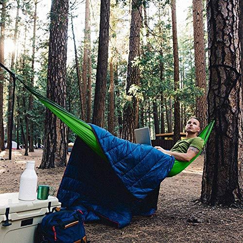 Hamaca para camping al aire libre, ultraligera, transpirable, con mosquitera, carga de 300 kg (260 x 140 cm), paracaídas de secado rápido, 2 mosquetones, correas de nailon incluidas.
