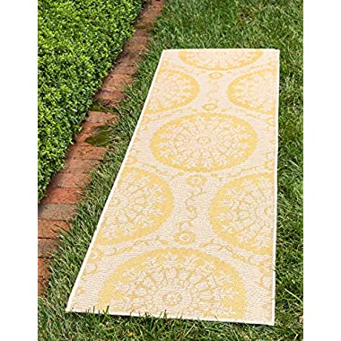 Unique Loom Outdoor Collection Floral Abstract Indoor and Outdoor Transitional Yellow Runner Rug (2' x 6')
