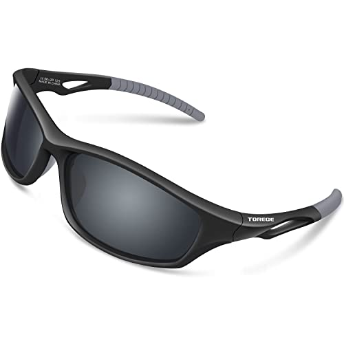 TOREGE Polarized Sports Sunglasses For Men Women Cycling Running Fishing Golf TR90 Unbreakable Frame TR010 (Black/Grey&Grey lens)