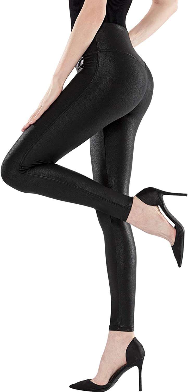 CLIV Women's Faux Leather Leggings Stretch High Waist Yoga Pleather Pants