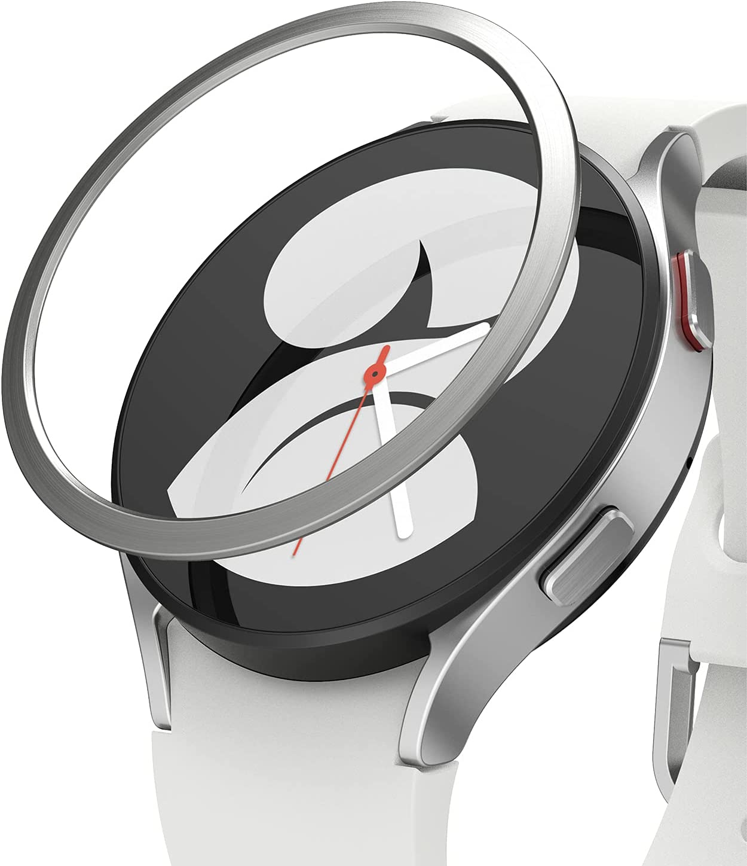 Ringke Bezel Styling Compatible con Protector Samsung Galaxy Watch 4 (40mm) Carcasa Adhesiva Acero Inoxidable para Reloj Bisel, Funda Galaxy Watch 4 40mm - 40-04 (ST) Silver