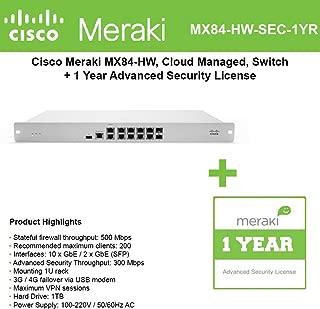 Cisco Meraki Cloud Managed Security FD MX84-HW with 1 Year Adv. Security License
