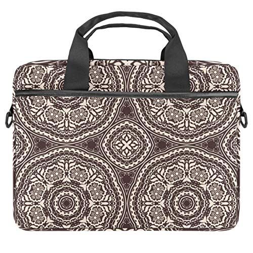 Laptop Bag Mandala Brown Psychedelic Henna Notebook Sleeve with Handle 13.4-14.5 inches Carrying Shoulder Bag Briefcase