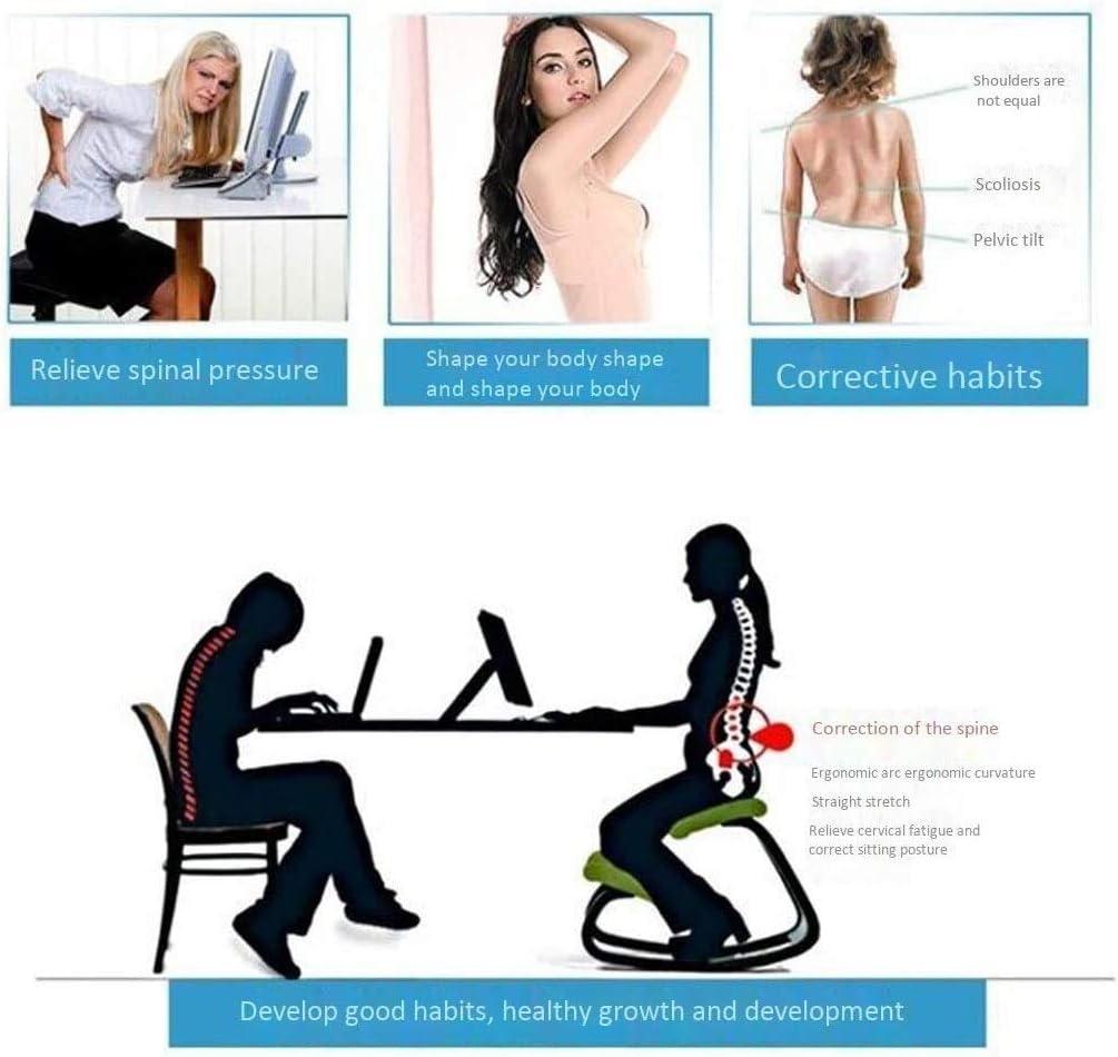 HUXIUPING Genoux Président Ergonomie avec Dossier for soulager la Fatigue Chaise Fitness Taille Bureau réglable en Hauteur Genoux Président (Color : Blue) Pink