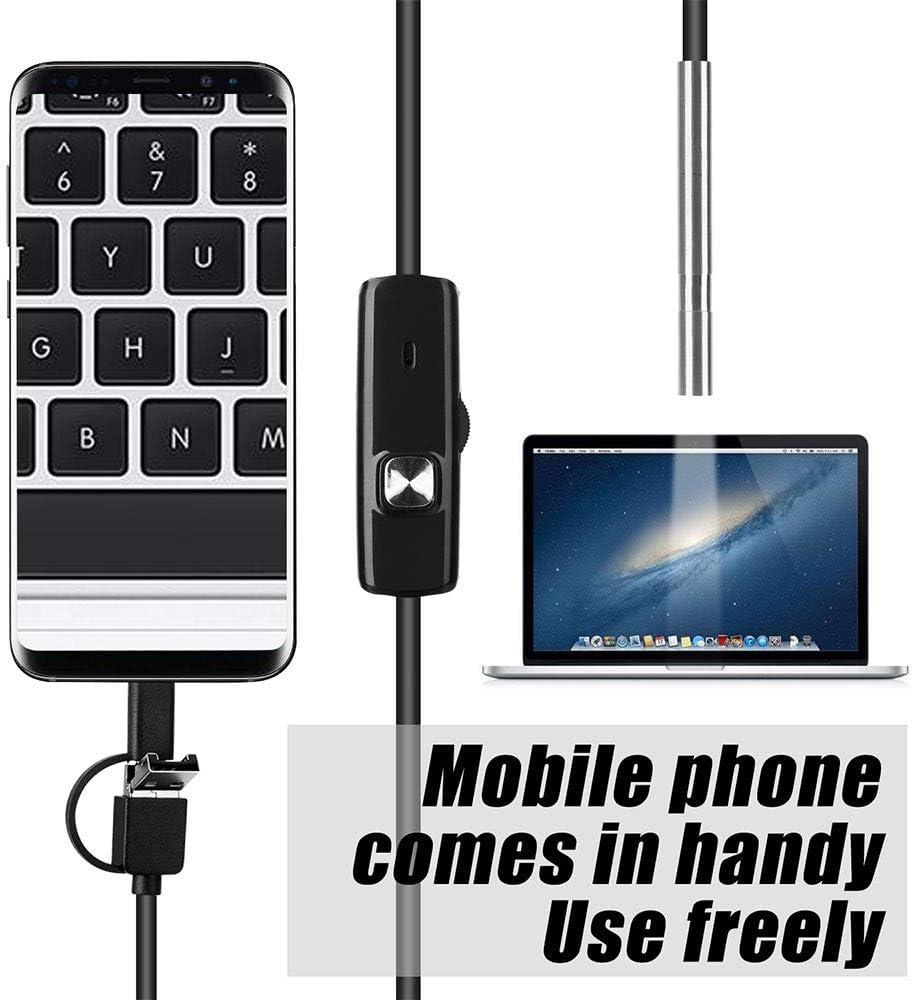 SULUO 3,9 MM 3In1-Endoskopkamera USB-Mini-Camcorder IP67 wasserdichte 6-LED-Endoskop-Inspektionskamera f/ür Windows MacBook PC Android,1M
