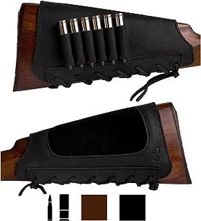 BronzeDog Leather Cartridge Buttstock Shotgun Shell Holder, Hunting Buttstock Ammo Holder Pouch Bag for Rifles, Shotgun Shell Pouch Shell Holder Stock