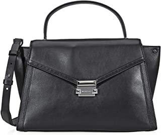 MICHAEL Michael Kors Womens Whitney Leather Trapeze Satchel Handbag Black Medium