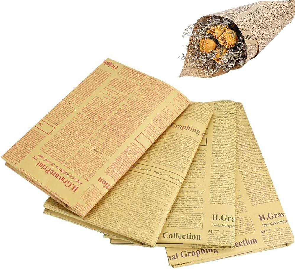Papel de Regalo de Periódico, 20 Piezas Papel de Periódico Vintage, Papel de Periódico Marrón, Papel Kraft Inglés Pequeño Papel de Embalaje de Flores para Embalaje de Regalos, Ramos, Libros(6 Colores)