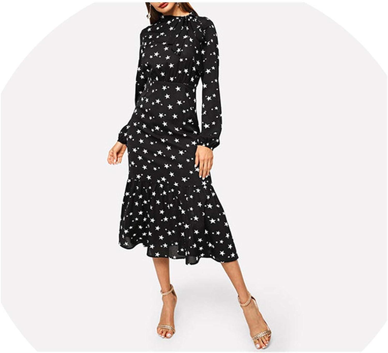 I'll NEVER BE HER Black Tied Neck Star Print Flounce Hem Dress Elegant Long Sleeve Dress Autumn Modern Women Dress