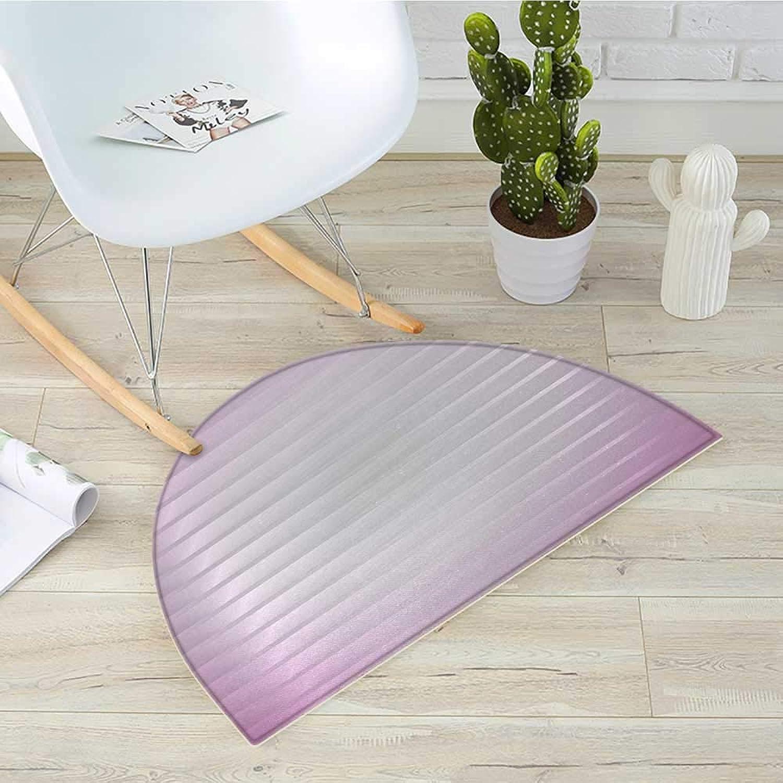 Modern Semicircular Cushionpurplec Horizontal Lines Pattern with Reflections Box Like Design Artful Image Print Entry Door Mat H 39.3  xD 59  Dried pink