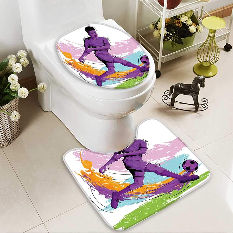 Aolankaili Cushion Non-Slip Toilet Mat Concept Sportsman Playing Soccer Vector Soft Non-Slip Water