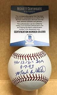 MARK WHITEN 4HR 12 RBI'S 1 GAME 9-7-93 SIGNED M.L. BASEBALL BECKETT G94089