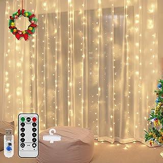 Vegena LED-ljusslinga 300 lysdioder, 3 m x 3 m LED USB ljusslinga gardin 8 lägen vattenfall ljusslingor gardin för fest de...