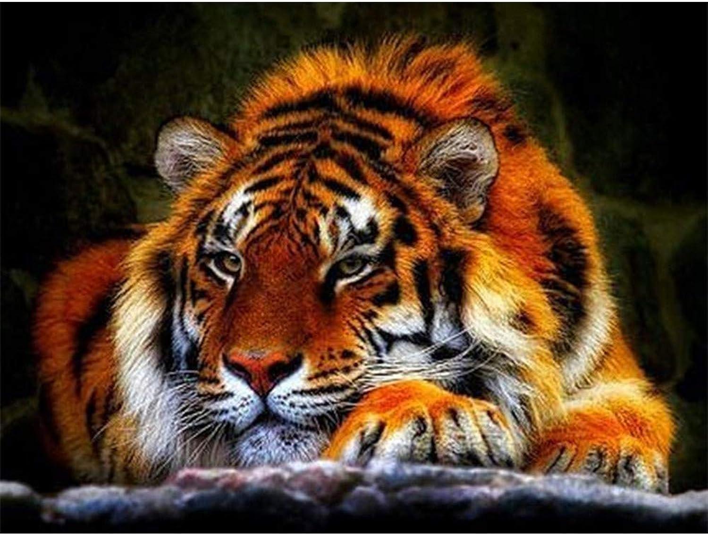 online al mejor precio 5D Diy Diamante Pintura Tiger Full Diamond Bordado Animales Mosaico Mosaico Mosaico Pintura Decoración Hogar,80X100cm  contador genuino