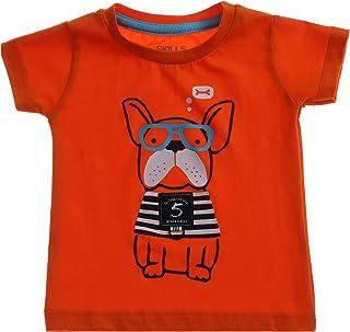 Skills Dog Print Round Neck Cotton T-shirt for Boys