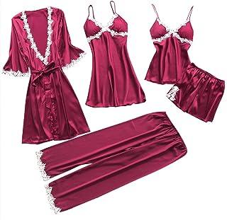 5Pcs Women Sexy Lace Nightwear Underwear Suit Babydoll Sleepwear Pants Dress - Red