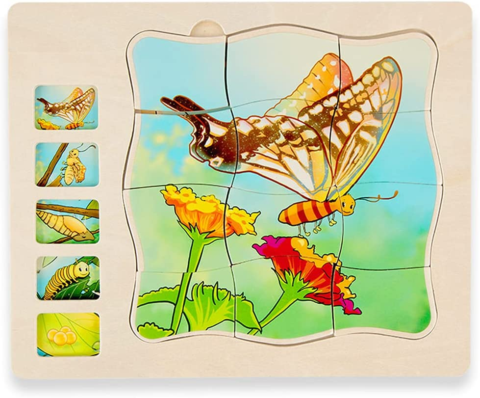 Wooden Puzzles 2021 autumn and winter new for Kids Ages Fashion 4-8 5 Layers Butte Life a of Cycle