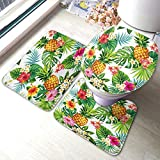 Moslion Leaf Bath Mat Hawaiian Pineapples Tropical Palm Leaves Flowers in Forest Jungle Bathroom Mat Set 3 Pieces Rug Toilet Seat Lid Cover Non Slip Mat Anti-Skid Pad Green Yellow Pink