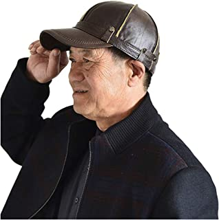 Hat Fashion Winter Node Men's Leather Hat Pure Leather Outdoor Ear Ardent Dome Cap Middle-Aged Warm Dad Baseball Cap Fashion Accessories (Color : Brown, Size : 56-60CM)