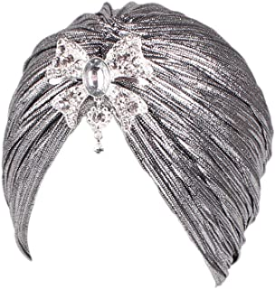 HANANei Women India Muslim Hat Stretch Pendant Wrinkled Turban Hat Head Scarf Wrap Cap