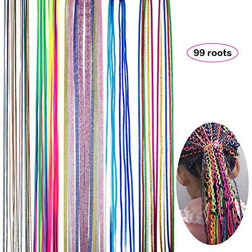 Hair String Hilo Para Trenzas Colores para Accessories Hair de Moda DIY y Cuerda de Trenza Colorida Para Niñas Mujeres en Fiestas 99 Raíces (5 estilos)