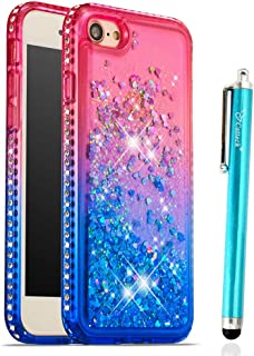Case for iPhone 7 iPhone 8, Cattech Glitter Liquid Floating Flowing Sparkle Flexible TPU Bling Diamond Slim Clear Soft TPU Cover Protective Case for Apple iPhone 7/8 4.7'' + Stylus (1 Pink/Blue)
