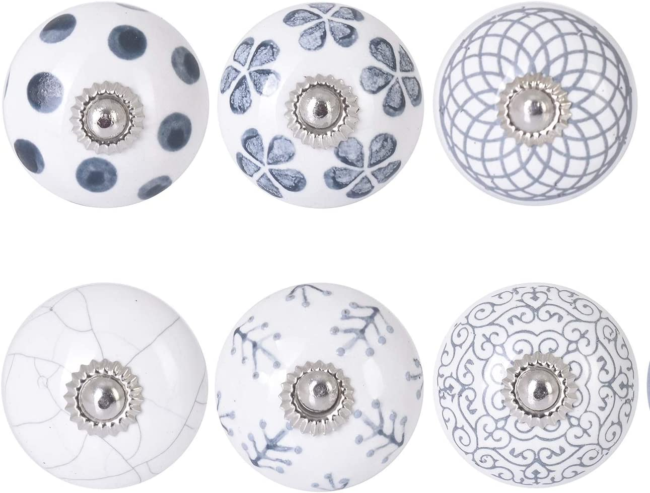 Orien Craft Ceramic Knobs Grey & White Cream Rare Hand Made in India Premium Quality Assorted Pumpkin knobs Cabinet Drawer Handles Pulls Ceramic Cabinet Knobs with Fitting Hardware (6, Grey)