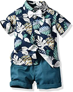 JunNeng Toddler Baby Boy Shorts Sets Hawaiian Outfit,Infant Kid Leave Floral Short Sleeve Shirt Top+Shorts Suits