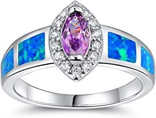 Opal Birthstone Ring/Created Sapphire Ring/Created Amethyst Ring for Women Men Wedding Engagement Band