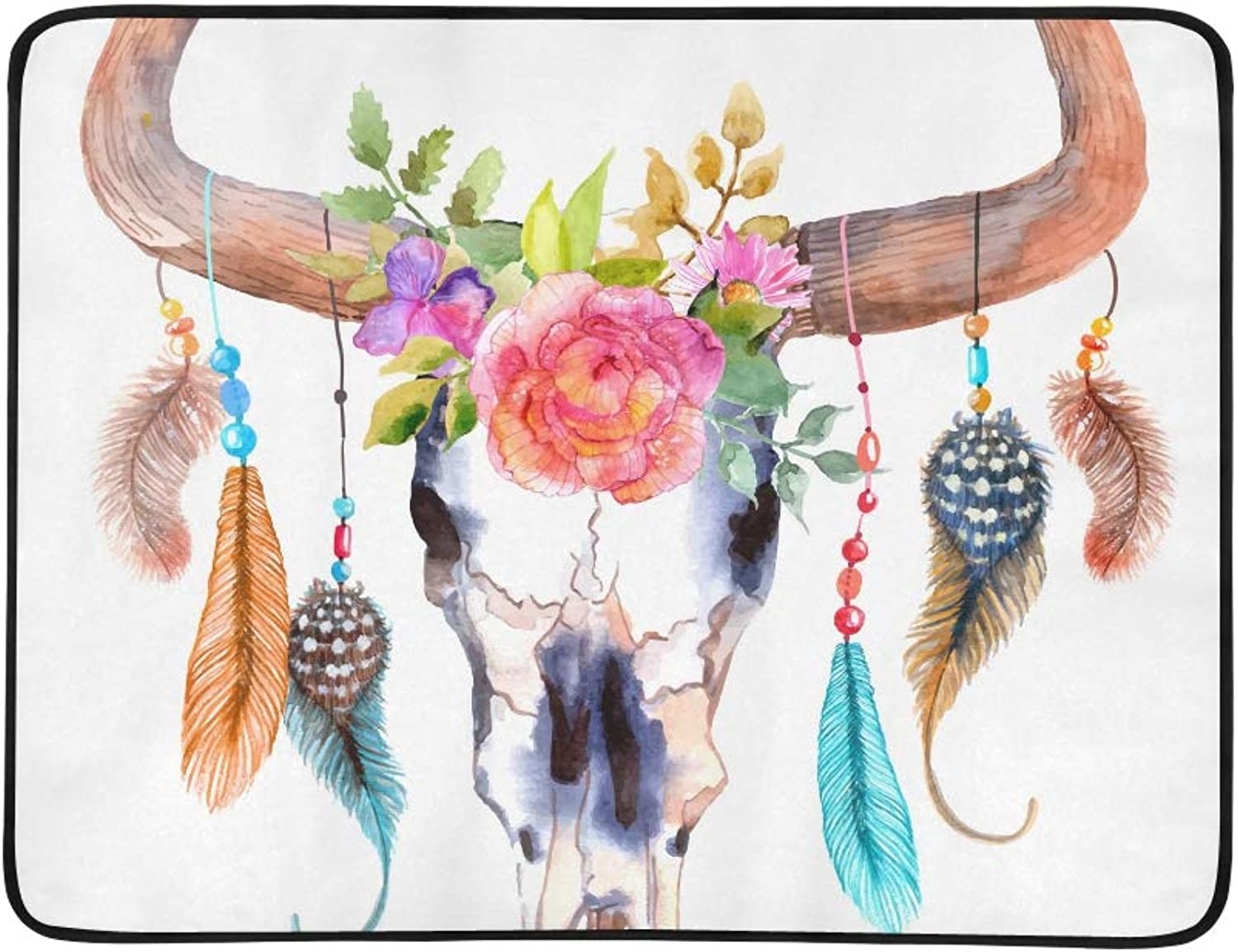 Watercolor Bull Skull with Flowers and Feathers V Pattern Portable and Foldable Blanket Mat 60x78 Inch Handy Mat for Camping Picnic Beach Indoor Outdoor Travel